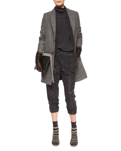 Asymmetric One-Button Vest, Tall Leather Gloves & Cashmere-Blend Mid-Calf Socks