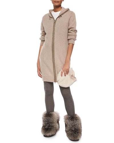 Monili-Trim Cashmere Sweater Coat, Basic Sleeveless Tee & Cashmere-Blend Shimmer Leggings