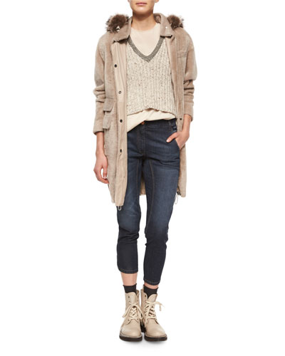 Reversible Shearling/Fox Fur Coat, Embellished-Neck Sweater Crop Top, Layered-Back Silk Tank & High-Waist Seamed Denim Jeans