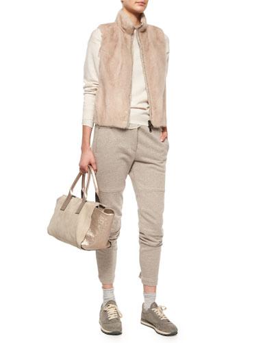 Mink Fur/Nylon Combo Vest, Chiffon-Trimmed Cashmere Jersey Tunic, Drawstring-Waist Sweatpants & Accessories