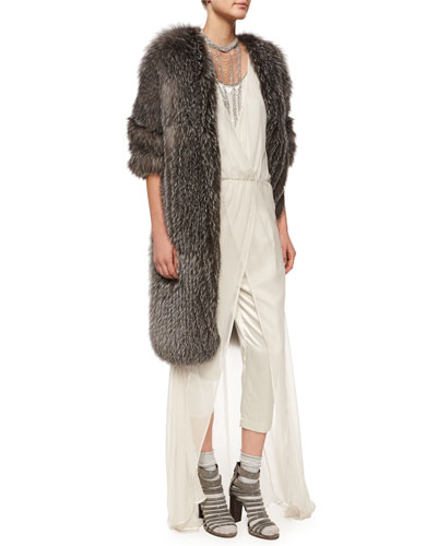 Fox Fur Cashmere-Knit Long Coat, Sleeveless Cropped Jumpsuit W/Overlay & Necklaces