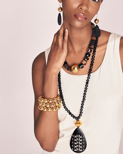 NEST Jewelry Tiger's Eye Statement Necklace & Hammered