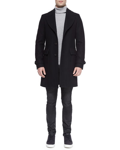 Bosbury Cashmere-Blend Coat, Littlehurst Textured Knit Sweater & Eversley Slim-Fit Moto Jeans