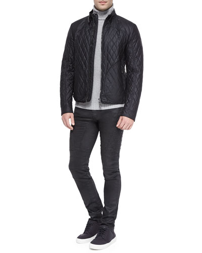 Welbeck Wax Knit Quilted Jacket, Littlehurst Textured Knit Sweater & Eversley Slim-Fit Moto Jeans