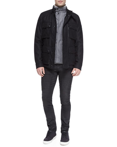 Trialmaster Cashmere-Blend Jacket, Quilted Flannel Vest, Littlehurst Textured Knit Sweater & Eversley Slim-Fit Moto Jeans