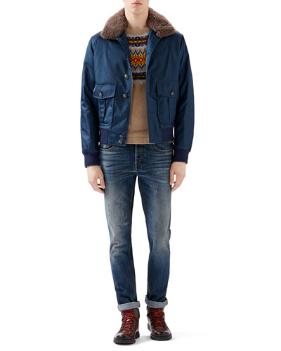 Blue Nylon Bomber w/ Shearling Fur Collar, Camel Multi Jacquard Crewneck Sweater & Blue Washed Denim w/ Slight Distressing