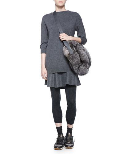 Half-Sleeve Flutter-Hem Cashmere Combo Dress & Monili-Chain Track Leggings