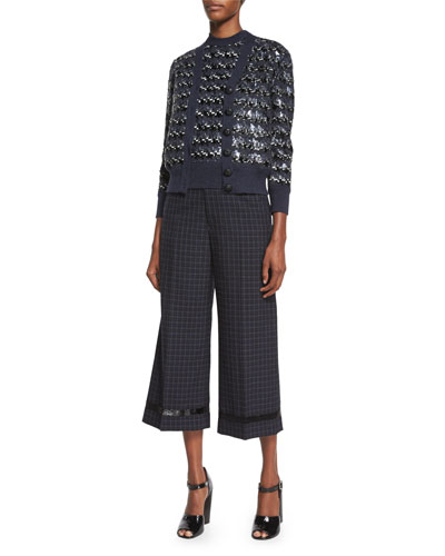 Houndstooth Sequined Knit Cardigan, Houndstooth Sequined Knit Sweater & Cropped Wide-Leg Beaded Pants