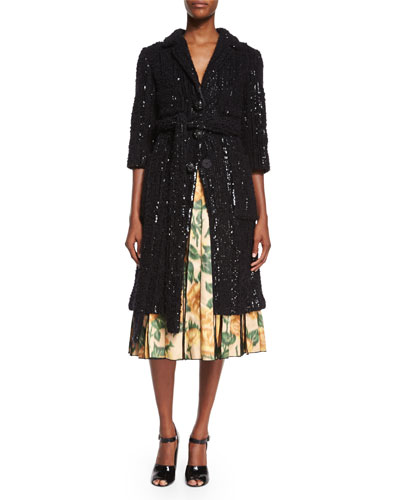 Allover Sequined Knit Coat & V-Neck Floral Ikat Fit-And-Flare Dress