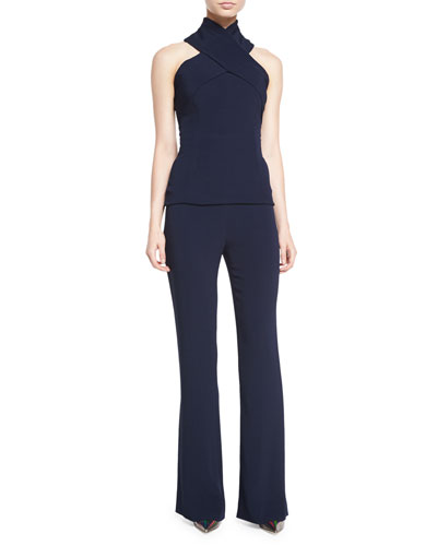 Crisscross Jersey Halter Top & High-Waisted Crepe Flared Pants