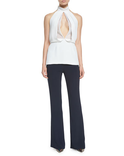 Mesh-Inset Open-Front Halter Top & High-Waisted Crepe Flared Pants