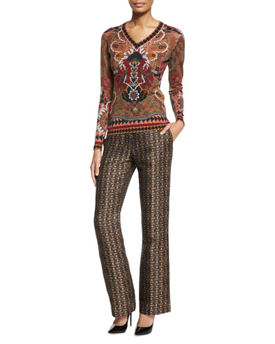 Floral-Print Geometric-Border Sweater & Linen-Blend Geometric Jacquard Pants