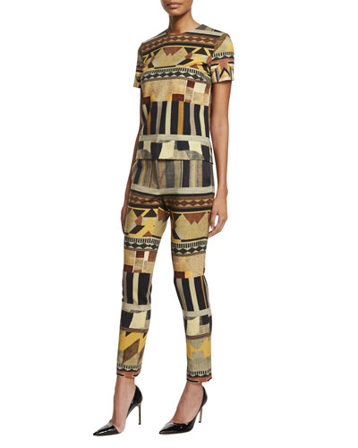 Geometric Ponte Short-Sleeve Top & Pants