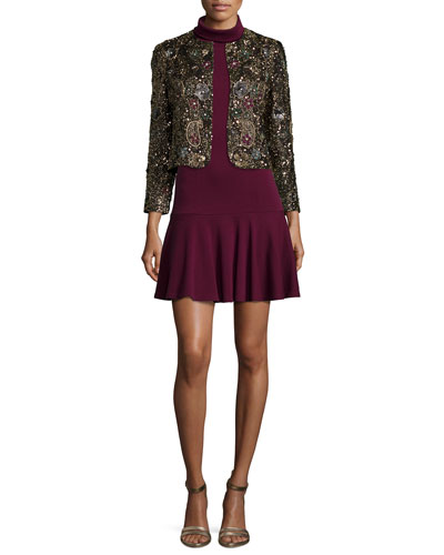 Kidman Beaded Long-Sleeve Jacket & Glenn Drop-Skirt Knit Dress
