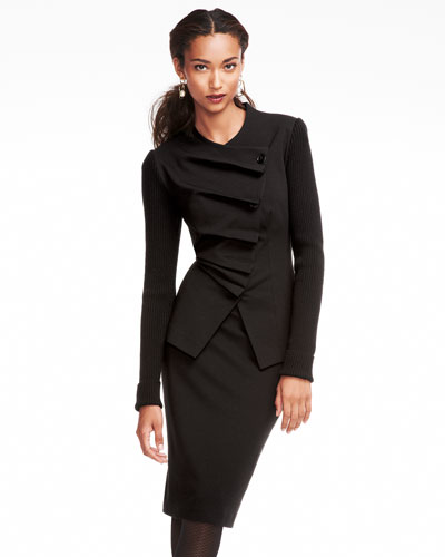 Folded Asymmetric Jacket & Knee-Length Pencil Skirt