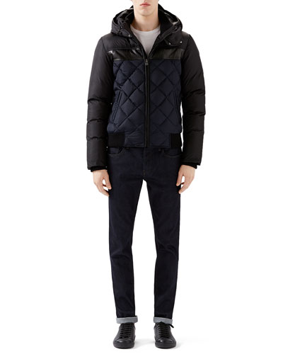 Black/Navy Quilted Hooded Puffer Jacket, White Crew Long-Sleeve T-Shirt w/ Black/Red/Black Arm Band & Dark Clean Wash Basic Denim w/ Stirrup Back