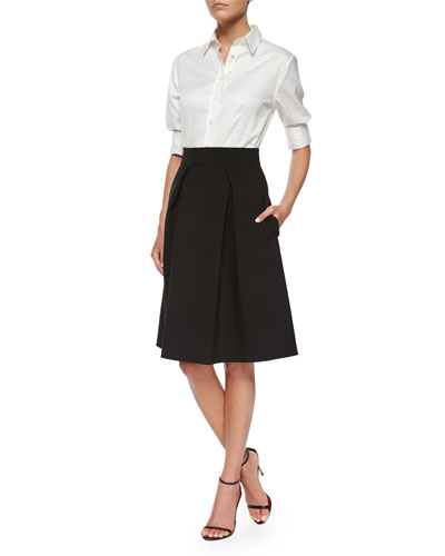 Classic Poplin Button Blouse & Double-Faced Box-Pleated Party Skirt