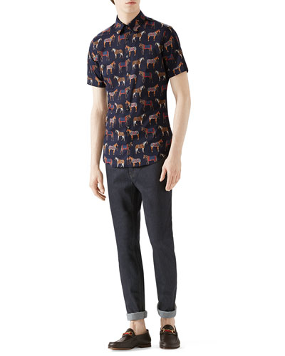 Navy Multi Horse Print Short-Sleeve Shirt & Dark Clean Wash Basic Denim w/ Stirrup Back
