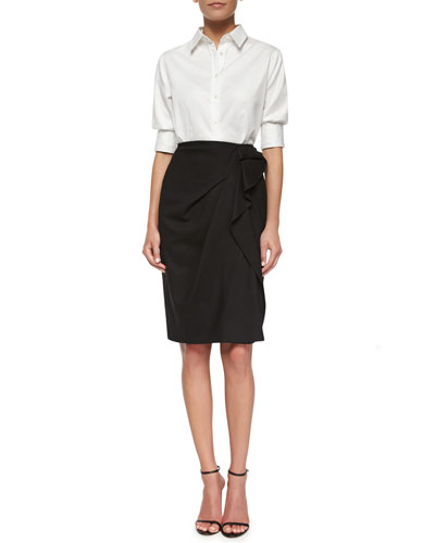 Classic Poplin Button Blouse & Side-Ruffled Faux-Wrap Skirt
