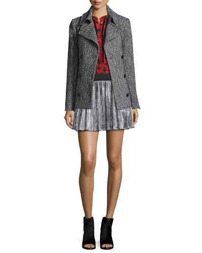 Miles Double-Breasted Coat, Chai Printed Silk Top & Jaffar Pleated Metallic Miniskirt
