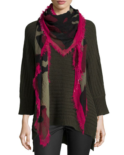 Athina Deluxe Knit Cashmere Sweater & Delta Camouflage Stars Scarf