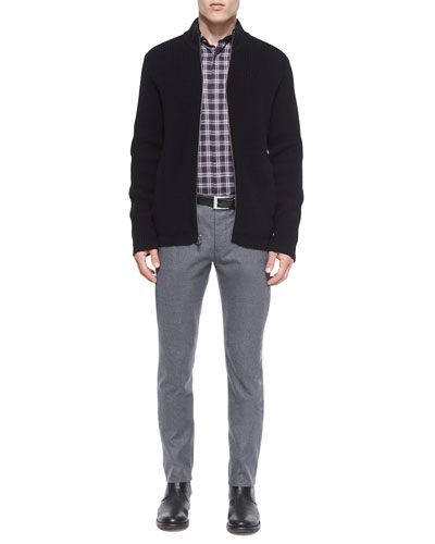 Lacham Ribbed Zip-Up Sweater, Daimon Multi-Check Sport Shirt & Conall Melange Wool Trousers