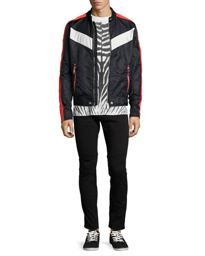 Nylon Striped Moto Jacket, Zebra Water-Print Knit Tee & Garment-Dyed Denim Jeans with Zip-Pockets
