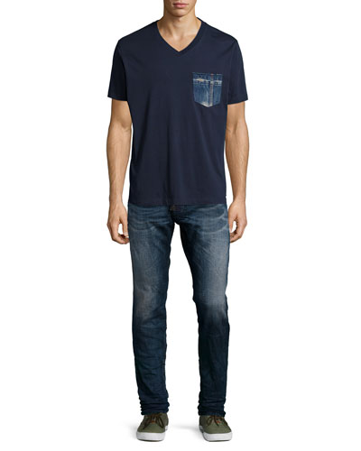V-Neck Tee with Denim Pocket & Krooley 0600 Jogger Denim Jeans