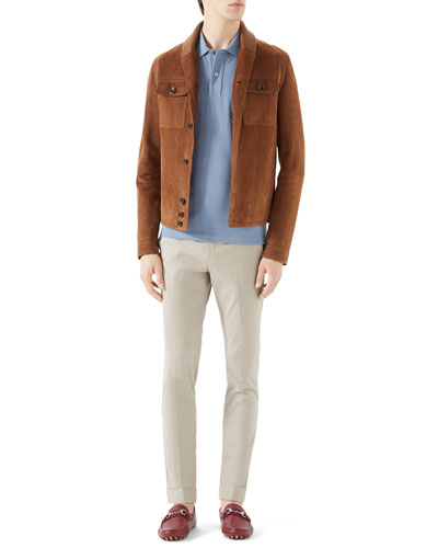 Brown Suede/Knit Mix Shawl Collar, Light Blue Short-Sleeve Pique Military Polo w/ Chest Pockets & Tan Riding Pants w/ Side Web Detail