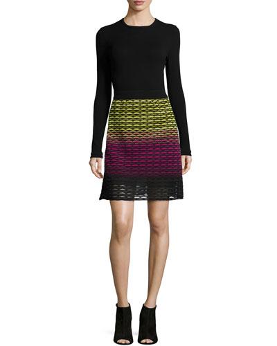Solid Crewneck Long-Sleeve Top & Gradient Fan Skirt