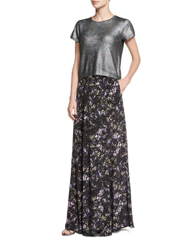 Miranda Short-Sleeve Metallic Knit Crop Top & Harriet Long Pleated Printed Silk Skirt