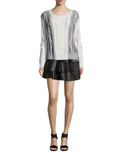 Cable Knit Wool Combo Sweater & Tiered Ruffle Leather Mini Skirt