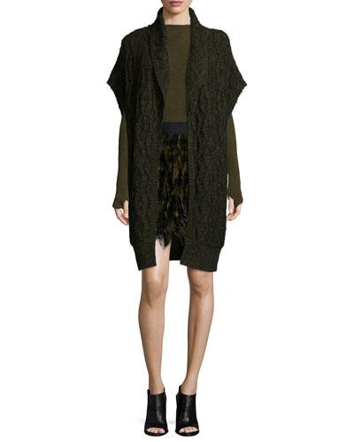 Darryl Oversized Sweater, Genova Knit High-Neck Top & Cina A-Line Feather Skirt