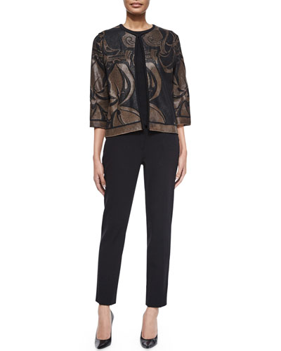 3/4-Sleeve Jacquard Cardigan, Jewel-Neck Floral-Print Tank & Tina Slim-Leg Pique Pants