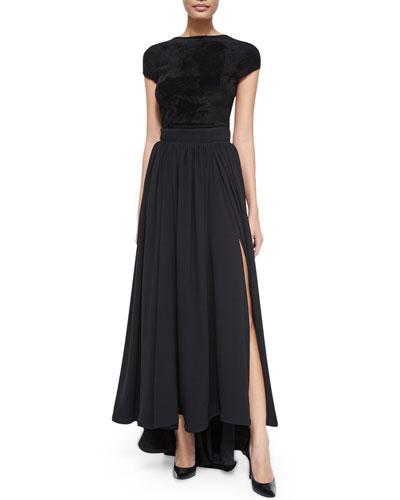 Cap-Sleeve Bateau-Neck Top & Long High-Waist Pleated Skirt