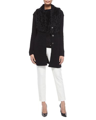 Long-Sleeve Cardigan W/Curly Fur Collar, Cap-Sleeve Bateau-Neck Top & Tina Slim-Leg Pique Pants