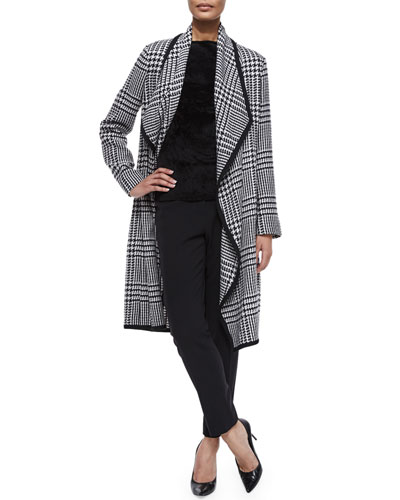 Houndstooth Draped Wrap Coat, Cap-Sleeve Bateau-Neck Top & Tina Slim-Leg Pique Pants