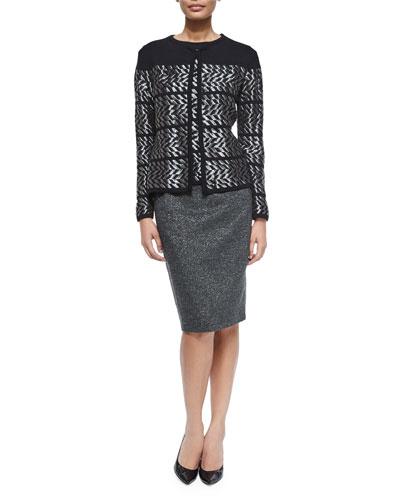 Long-Sleeve Metallic Chevron Cardigan, Tank & Metallic Pencil Skirt