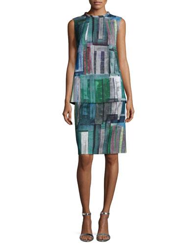 Fonda Sleeveless Printed Blouse & Adalyn Printed Pencil Skirt