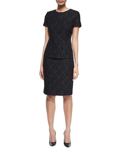 Short-Sleeve Lace Top & High-Waist Pencil Skirt
