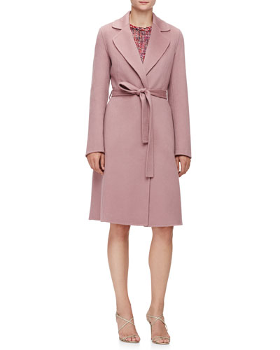 Long-Sleeve Cashmere Wrap Coat & Braided-Trim Pleated Tweed Dress