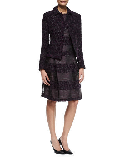 Long-Sleeve Boucle Jacket & Sleeveless Combo Stripe Dress