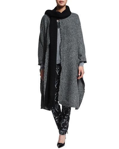 Raw-Edge Wool-Blend Cape, Lace-Trim V-Neck Sweater & Floral Silk Ankle Pants