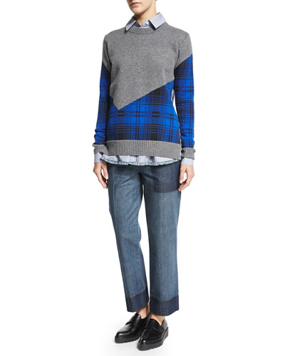 Plaid Combo Cropped-Back Crewneck Sweater, Striped Crossover-Back Shirt & Striped Cross-Front Pants