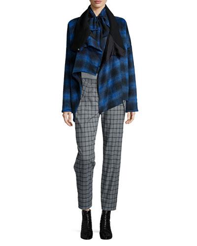 Plaid Crossover Asymmetric Coat, Plaid Tie-Neck Silk Blouse & Asymmetric Pocket Grid Pants