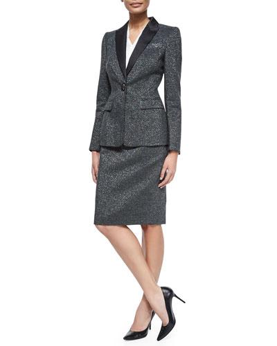 Long-Sleeve Metallic Tuxedo Jacket, V-Neck Cap-Sleeve Silk Shell & Pencil Skirt