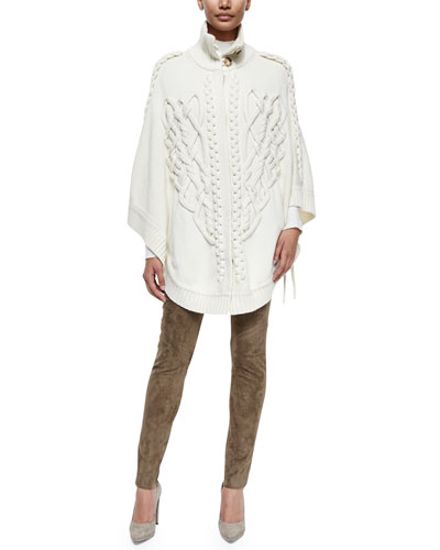 Braided Snap-Front Poncho, Mock-Neck Long-Sleeve Top & Mid-Rise Slim-Leg Trousers