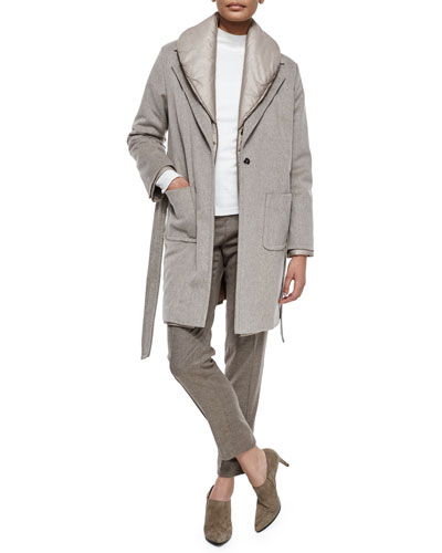 Three-In-One Coat, Mock-Neck Long-Sleeve Top & Hepburn High-Waist Flannel Slim-Leg Pants