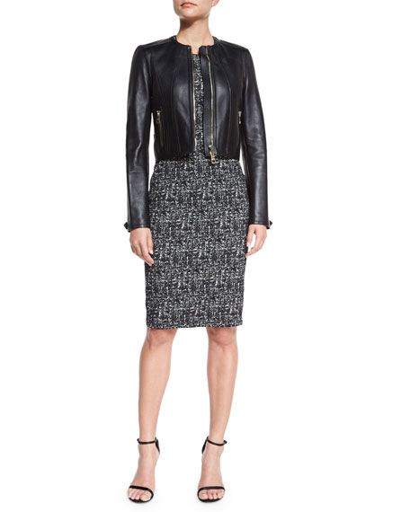Burberry London Paneled Cropped Leather Jacket, Black