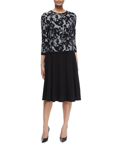 3/4-Sleeve Floral Intarsia Pullover Top & Mid-Length Circle Skirt